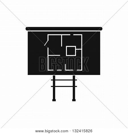 Project of house on a board icon in simple style isolated on white background