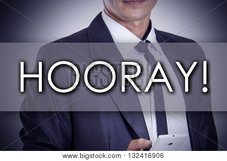 Hooray! - Young Businessman With Text - Business Concept
