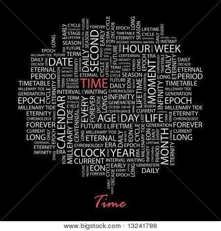ZEIT. Wort-Collage auf schwarzem Hintergrund. Abbildung mit verschiedenen Verband Bedingungen.