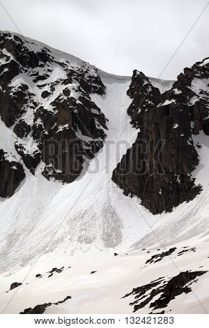 Rocks With Snow Cornices And Traces From Avalanches