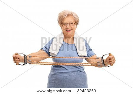 Older woman exercising with a resistance band isolated on white background