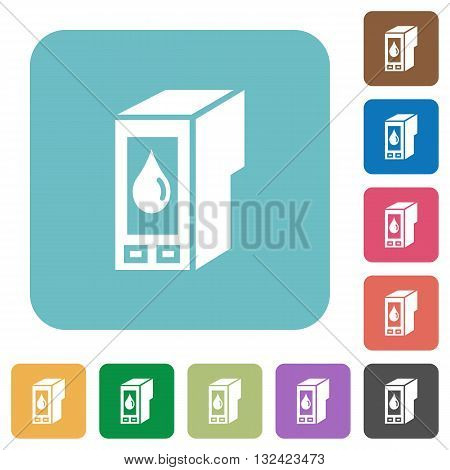 Flat ink cartridge icons on rounded square color backgrounds.