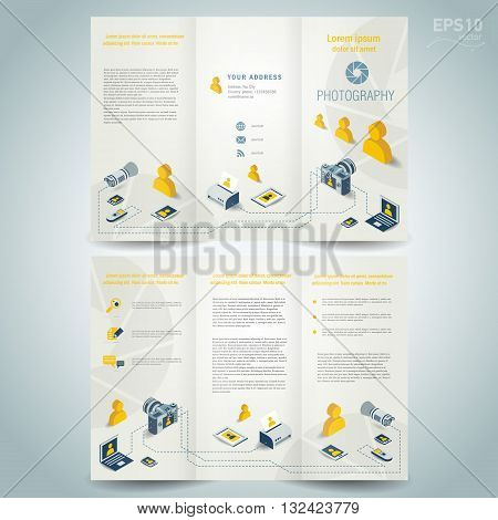 photography brochure design template vector photo camera professional element icons