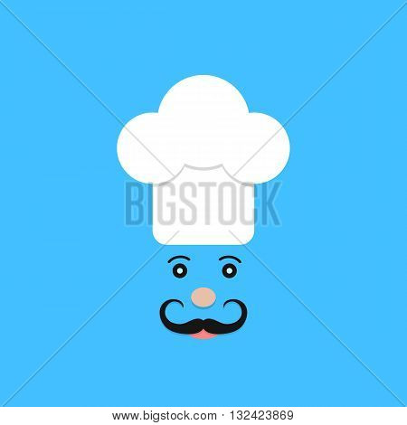 physiognomy of chef on blue background. concept of haute cuisine, culinary secrets, invitation, hobby, bon appetite, chief, gastronomical. flat style trendy modern logotype design vector illustration