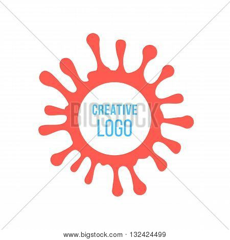 creative logo in red ink stain. concept of painting artwork, company mark, inkblot, droplet, creativity print, splodge. isolated on white background. flat style modern brand design vector illustration