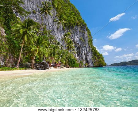 Beautiful island with blue bay. El Nido,  Palawan, Philippines