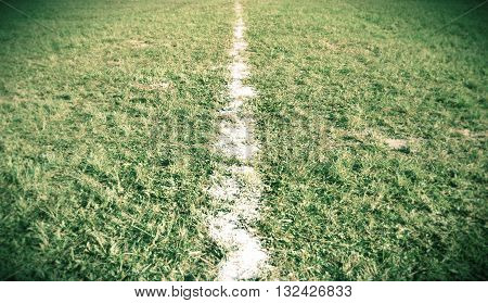 White line on football field this image edit color for vintage tone