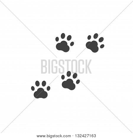 Paw prints vector, dog paw footprint isolated on white background