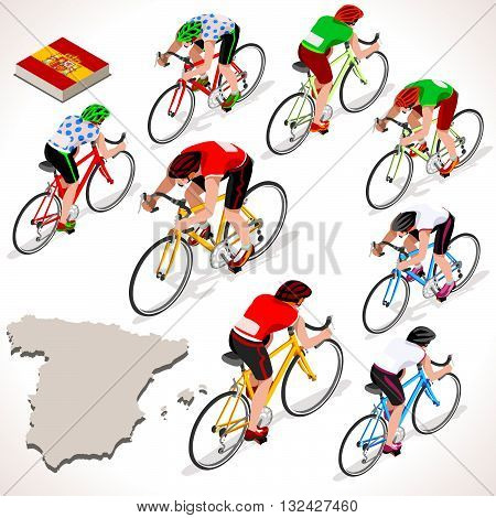 Vuelta de Espana Spain racing cyclist group riding bicycle path. Vector cyclist icon. Cyclist icons. Flat 3D isometric people set of vector cyclist and bicycle icons. Isometric bicycle race Cycling icons.