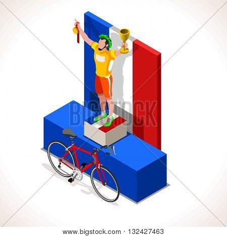 Tour de France racing winning cyclist. Vector cycling icon. Cyclist icons. Flat 3D isometric people set of vector bicyclist icons. Isometric bicycle 2016 Cycling race icons.