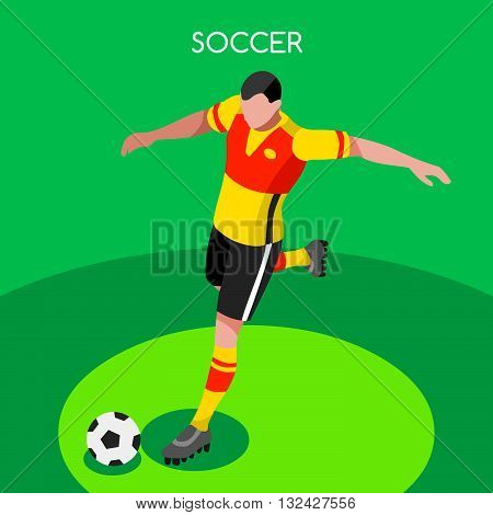 Soccer Striker Player Athlete Summer Games Icon Set.3D Isometric Field Soccer Match and Players.Sporting International Competition Championship.Sport Soccer Infographic Football Vector Illustration.