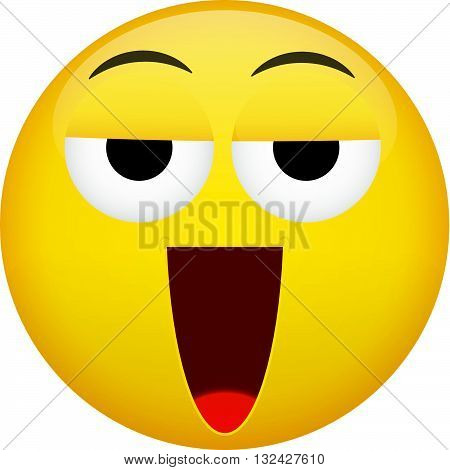 Drunken tired smile laugh emotion. Emoji vector illustration.