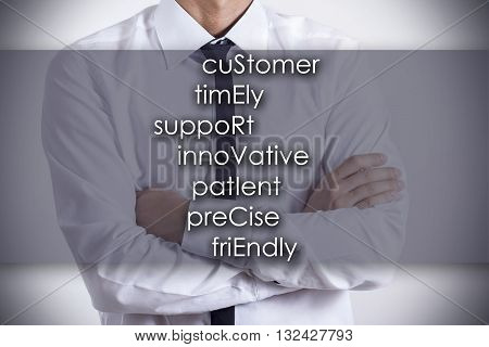 Customer Timely Support Innovative Patient Precise Friendly Service - Young Businessman With Text -
