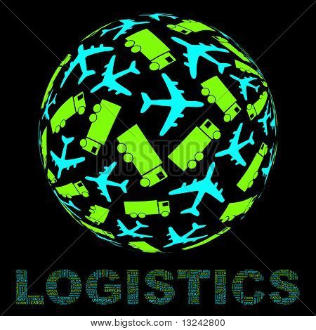 Globe with transport sign mix. Vector illustration.