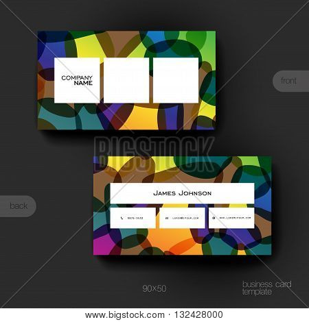 Business card vector template with abstract background. Creative modern design