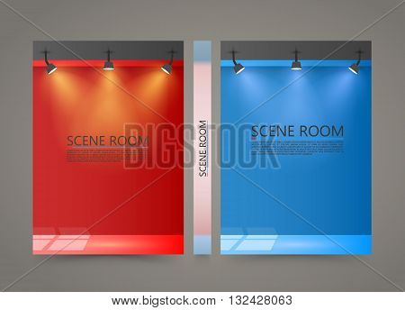 Color Room with a light source banner, Lighted Stage cover, A4 size paper, Vector illustration
