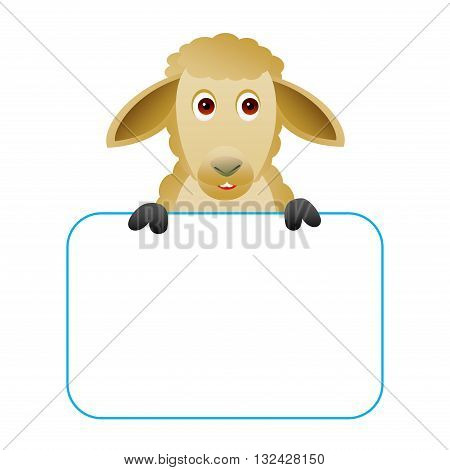 Clipart picture of a sheep cartoon character holding a blank board.