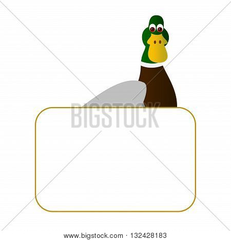 Clipart picture of a duck cartoon character holding a blank board.