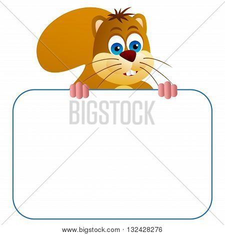 Clipart picture of a squirrel cartoon character holding a blank board.