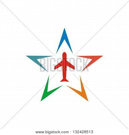 Logo Colorful Star Flit away Travel Plane Symbol