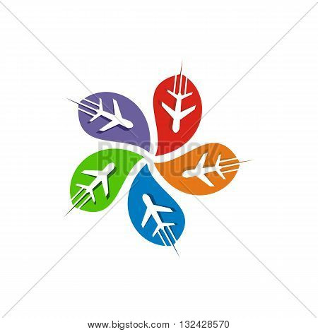 abstract logo colorful plant transportation spin symbol