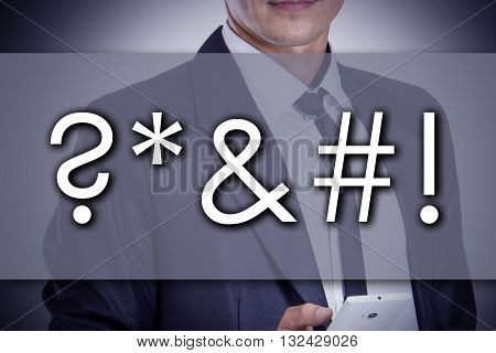 Swearing - Young Businessman With Text - Business Concept