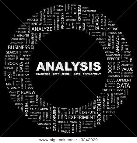 ANALYSIS. Word collage on white background. Illustration with different association terms.