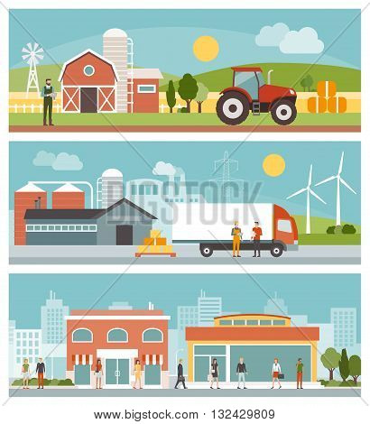 Agriculture industrial production transport and commerce banners set city and landscapes with buildings and people