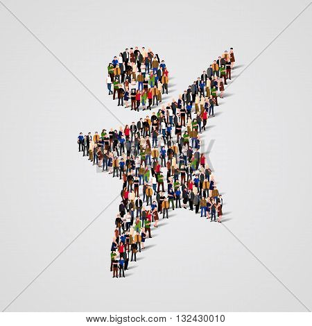 Large group of people in the shape of happy man. Vector illustration