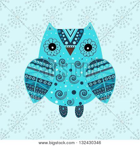 Cute owl with ethnic ornament. Animal bird symbol of wisdom. Funny owl. Vector owl. Bird of prey owl.