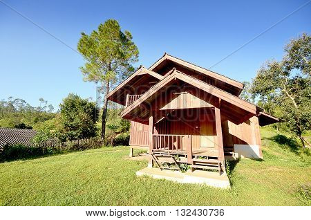 Wood house with nature in clear sky  this image have emtpy space for input text on blue color