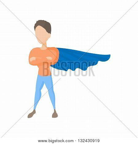 Superhero icon in cartoon style on a white background