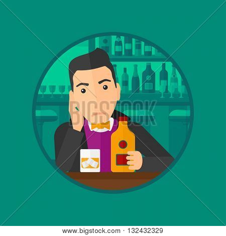 A sad young man with alcohol drinks sitting in bar. Man drinking alcohol alone. Man holding bottle of alcohol at the bar. Vector flat design illustration in the circle isolated on background.