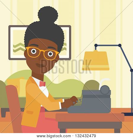 An african-american reporter writing an article on typewriter on the background of living room vector flat design illustration. Square layout.