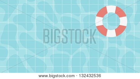 Background of water surface with floating lifebuoy vector flat design illustration. Horizontal layout.
