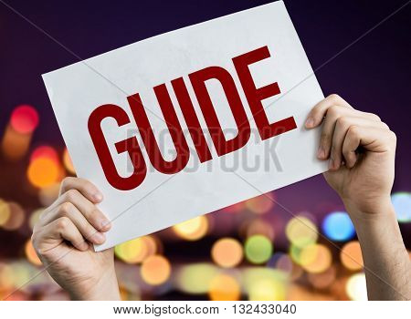 Guide placard with night lights on background