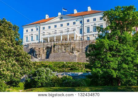 Estonian Government Building (stenbock House) On Toompea Hill In Old Tallinn City, Estonia.