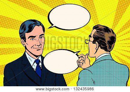 Two businessmen dialogue conversation communication pop art retro vector. Business negotiations poster