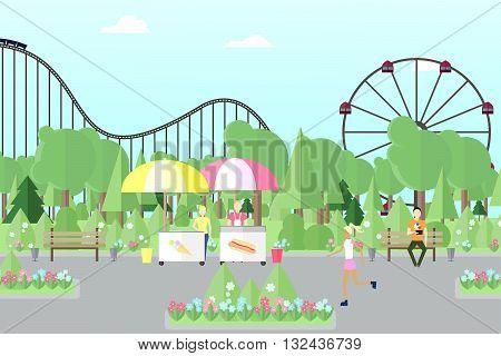 City park with people. Park. Amusement park park for recreation flat park vector park