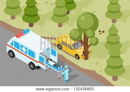 Ambulance. Emergency medical accident evacuation. Emergency, medical ambulance, accident evacuation, medicine evacuation service, evacuation vehicle. Vector illustration