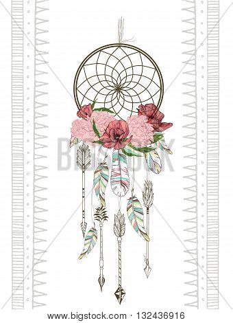 Vector hand drawn illustration of dreamcatcher. Traditional boho chic romantic decoration with aztec arrows feather and flowers.