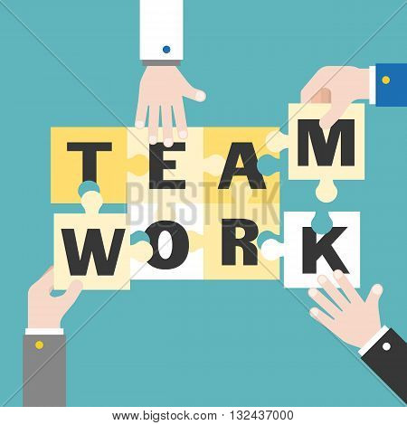 Business Hand and jigsaw illustration for business teamwork concept, with teamwork alphabet on jigsaw, flat design