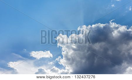 Sunny Happy God Light Soft Blue Sky With Big Puffy Clouds And Fresh Mood, Freedom And Heaven Feeling