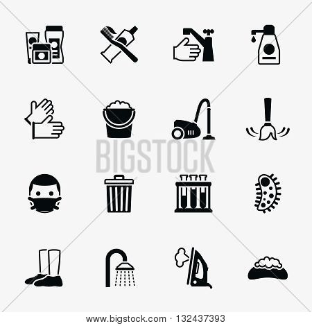 Sanitation and health vector flat icons set. Bacteria sanitation, hygiene sanitation, wash soap sanitation illustration