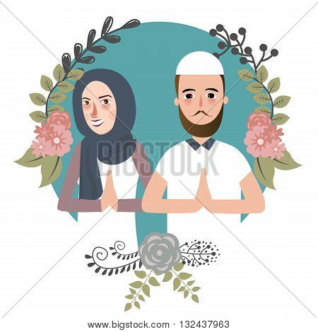 couple muslem islam greetings ramadhan ied as for forgiveness salam mariage vector
