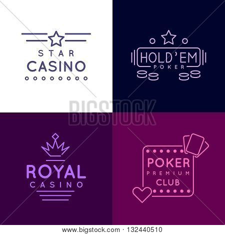 Gambling emblems of Poker club and casino. Vector icons set in line style. Poker gambling casino, gambling poker emblem, gambling club poker illustration