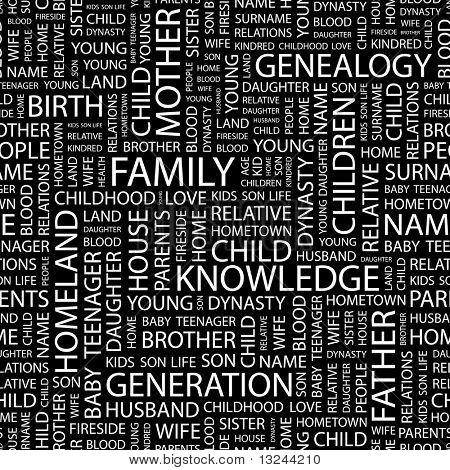 FAMILY. Seamless vector pattern with word cloud. Illustration with different association terms.