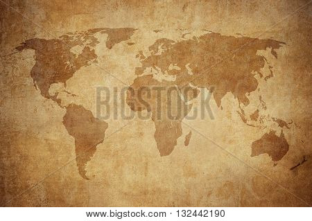vintage style grunge map of the world