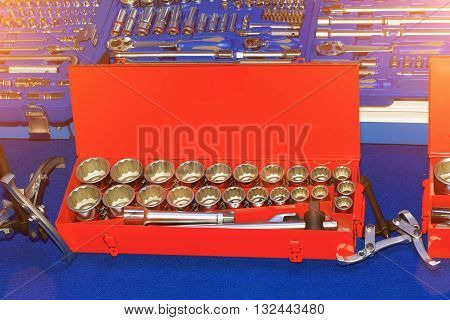 Showcase of tool store. Toolboxes and toolkit for auto servise