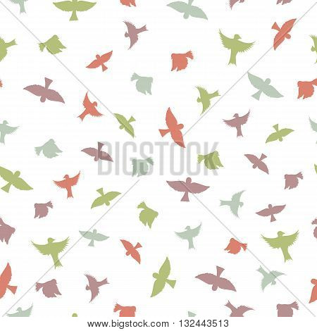 Birds seamless pattern. Color silhouettes of birds. A simple outline of the birds. White background. Vector illustration